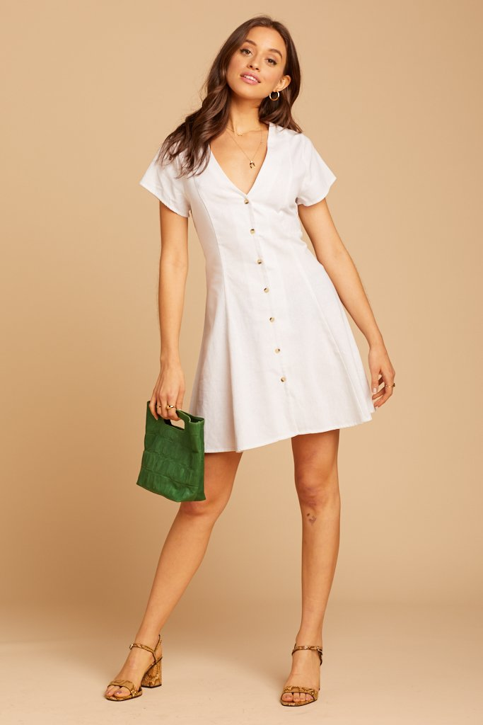 button front linen dress