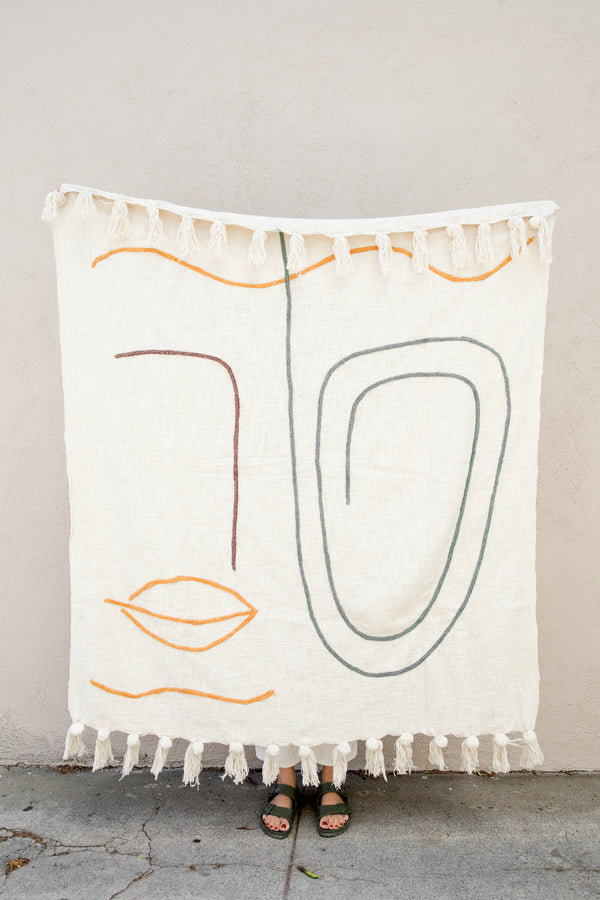 Abstract Embroidered Throw