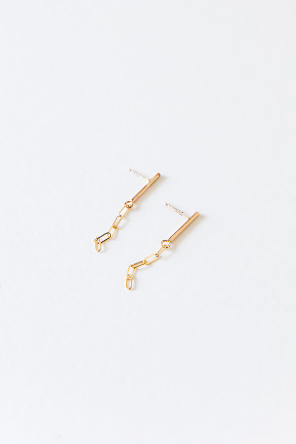 Gold Bar Chain Studs