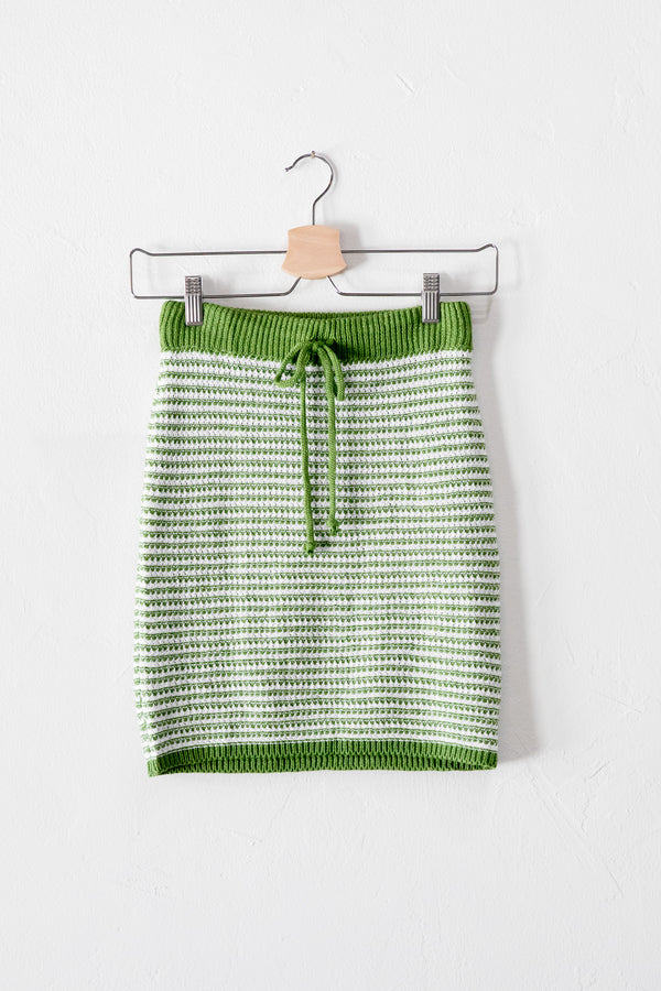 Green Stripe Crochet Skirt