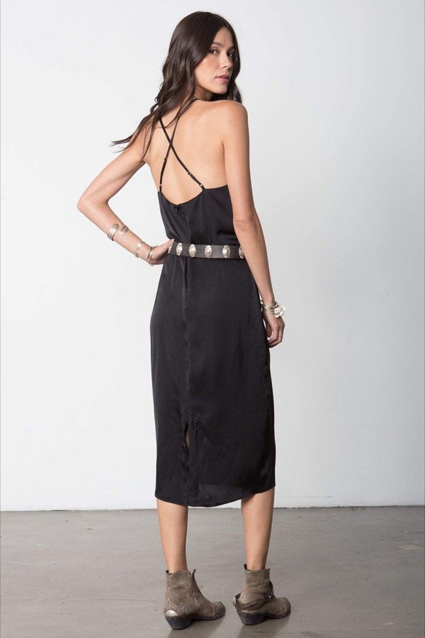 Black High Neck Slip Midi