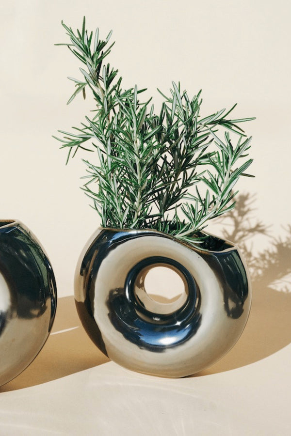 Chrome Waves Vase