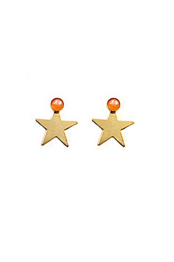 Peach Moonstone Star Studs