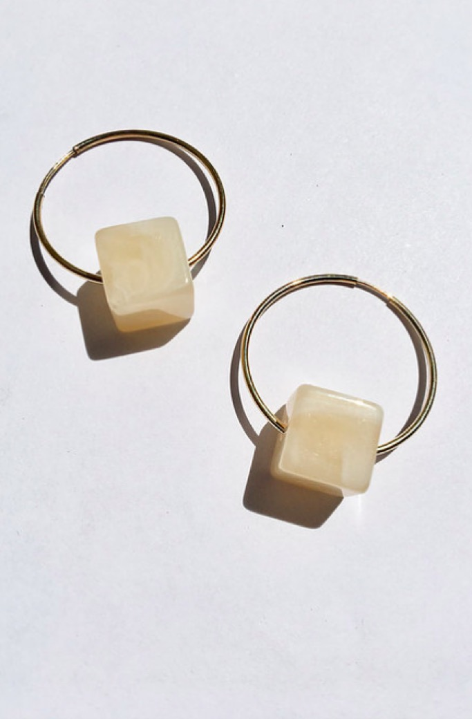 Gold Ivory Cube Hoops