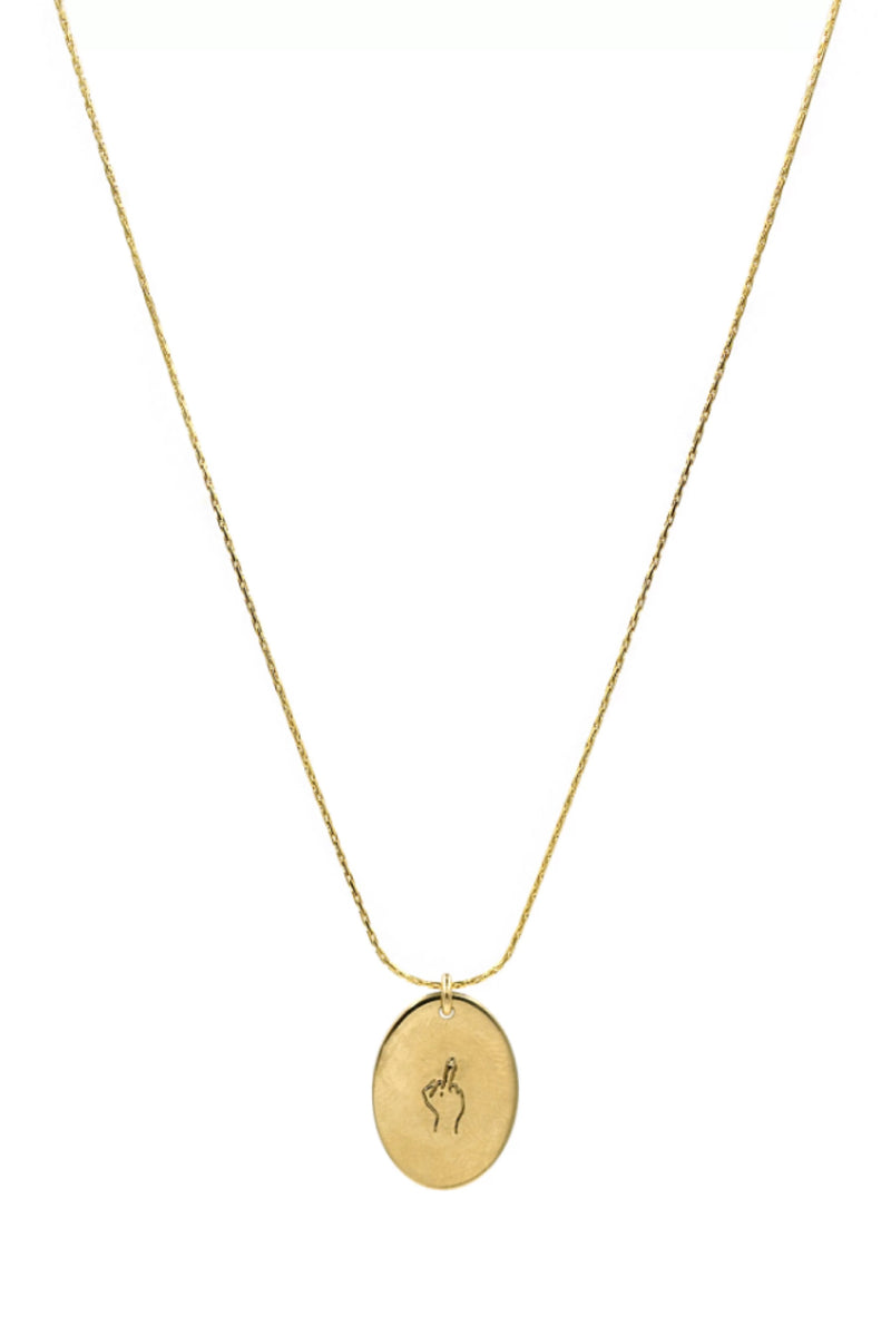 Gold Middle Finger Oval Necklace