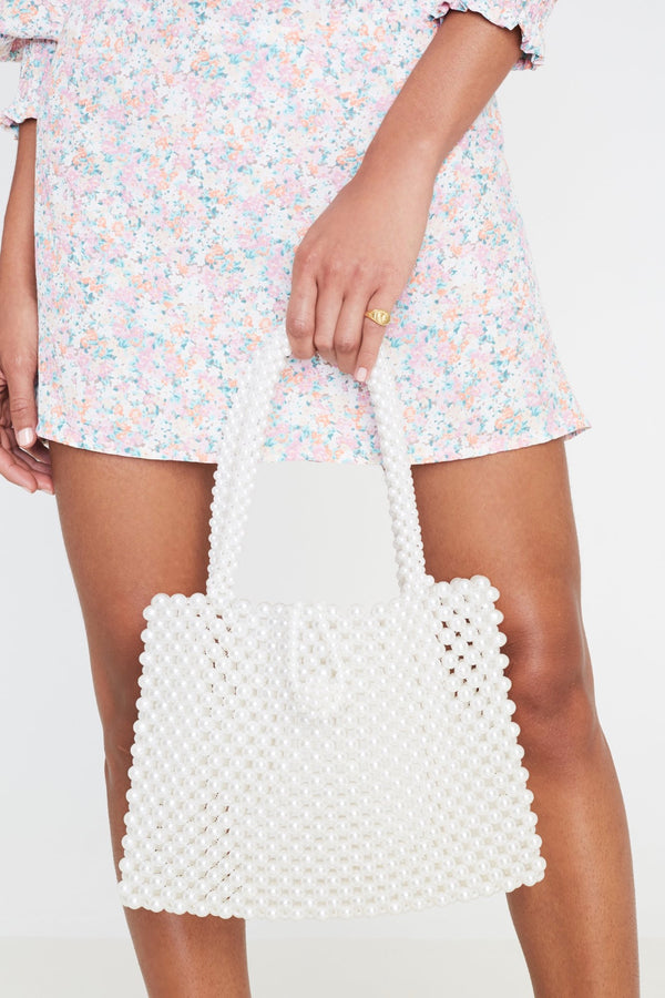 White Pearl Agata Bead Bag