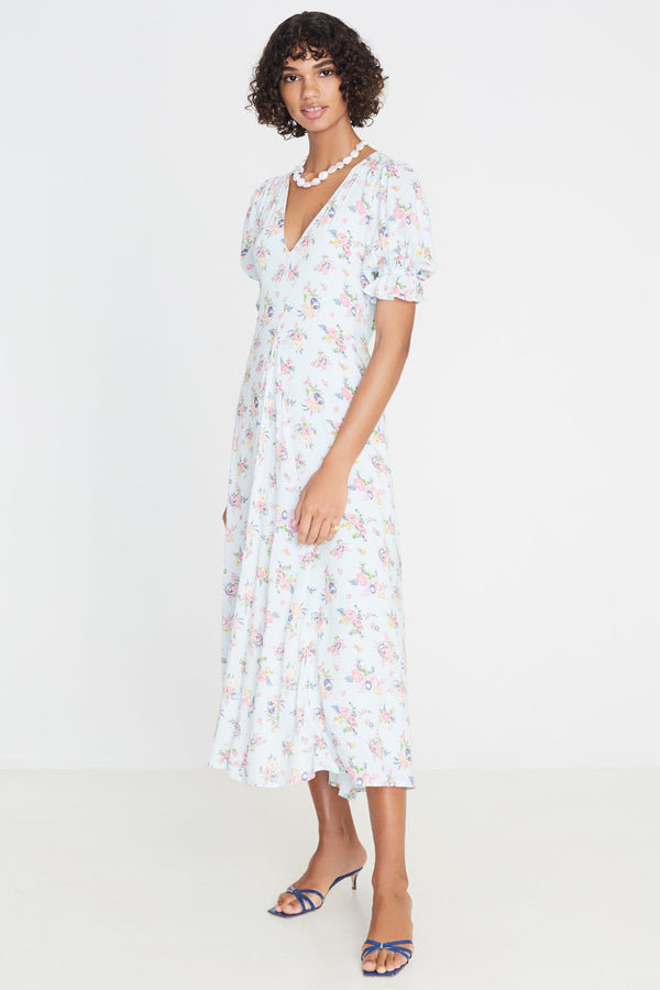 Blue Juliette Floral Maggie Midi Dress
