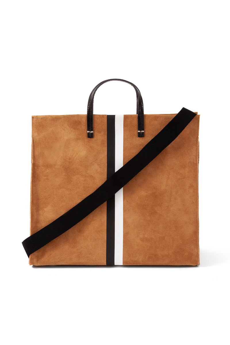 Camel Suede Stripe Simple Tote
