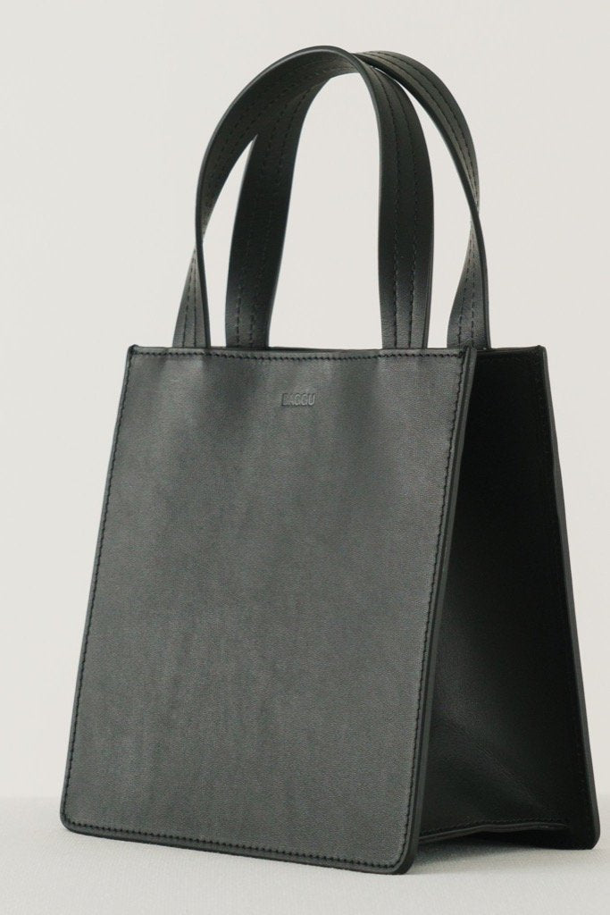 Black Small Leather Tote