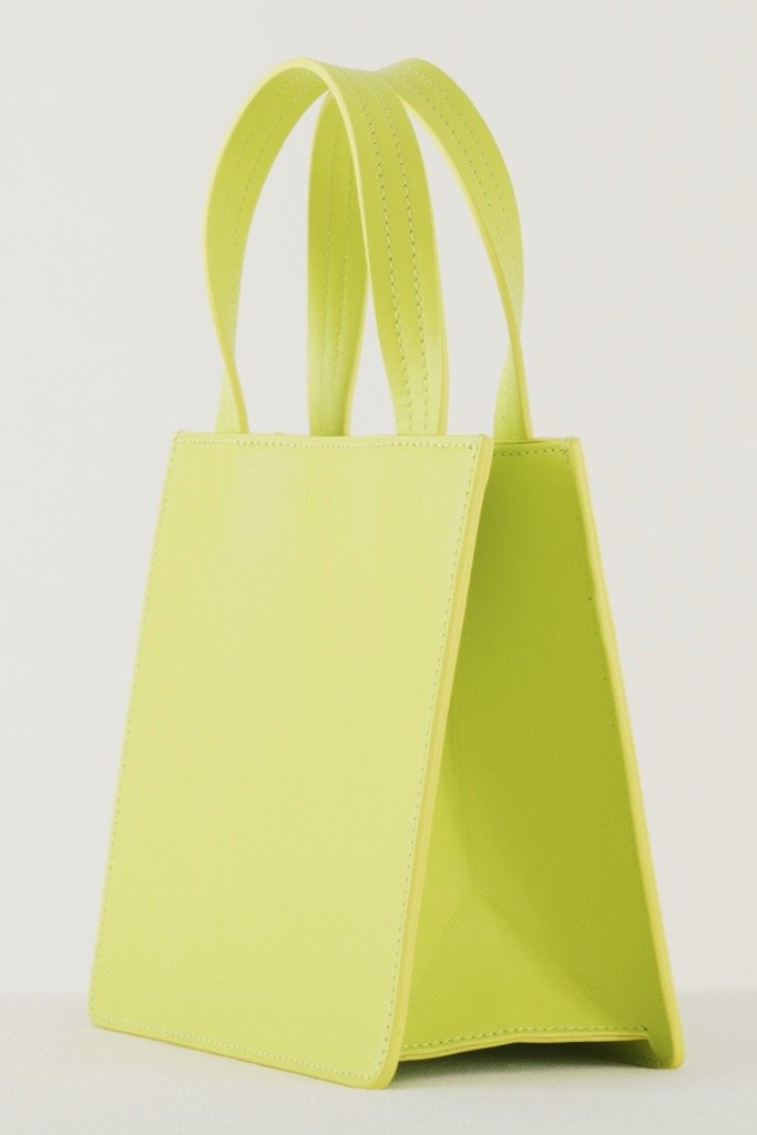 Chartreuse Small Leather Tote