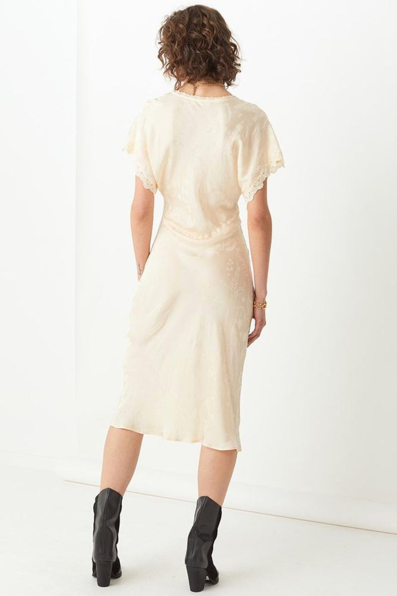 Ecru Petal Jacquard Dress