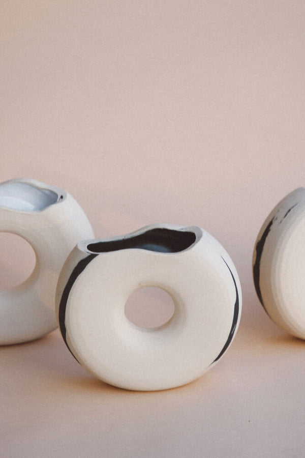 White + Onyx Waves Vase