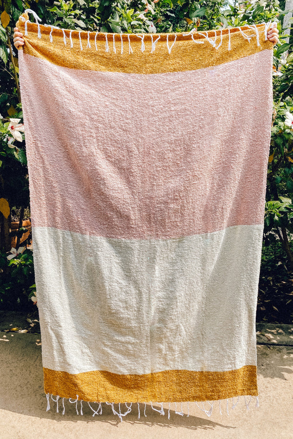 Natural Pink Sunday Throw