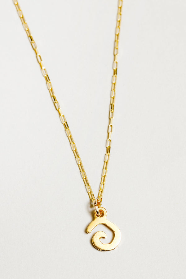 Gold Charm Swirl Necklace