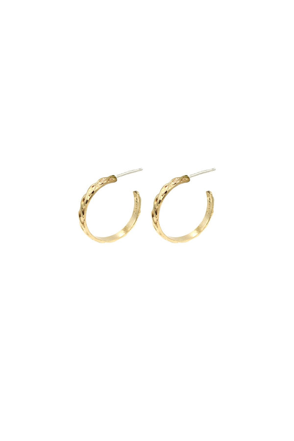 Gold Small Wavy Hoops