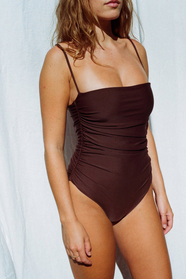 Carob Ruched Maillot