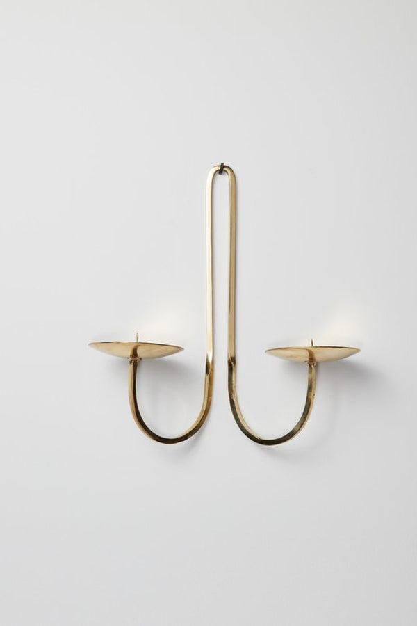 Brass Double Arm Candle Holder
