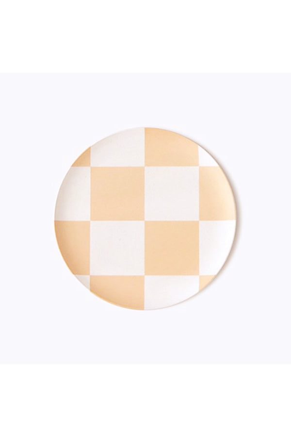 Peach Check Side Plate Set