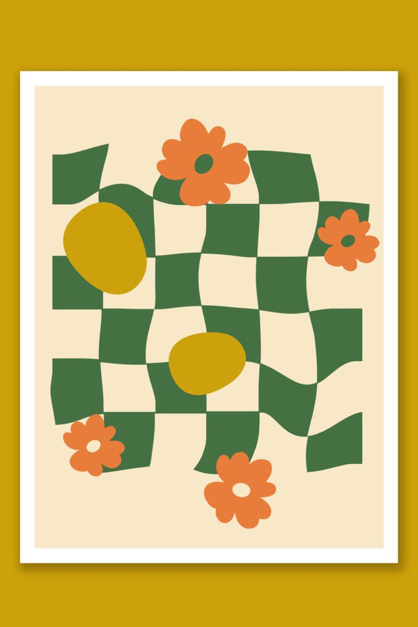 Checkered Flower Print