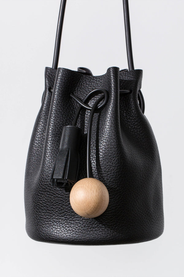 Black Pebbled Mini Bucket Bag