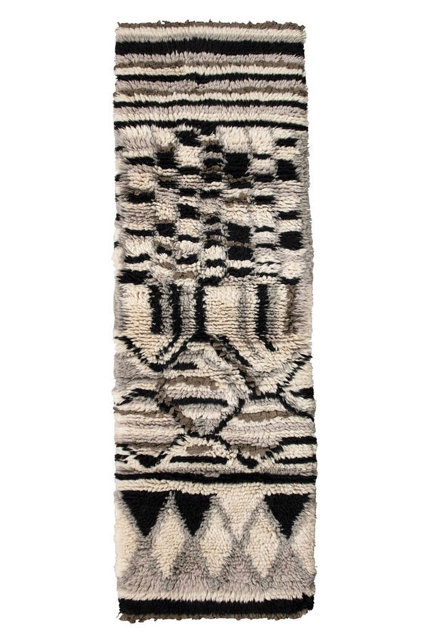 Patterned Wool Shag Runner
