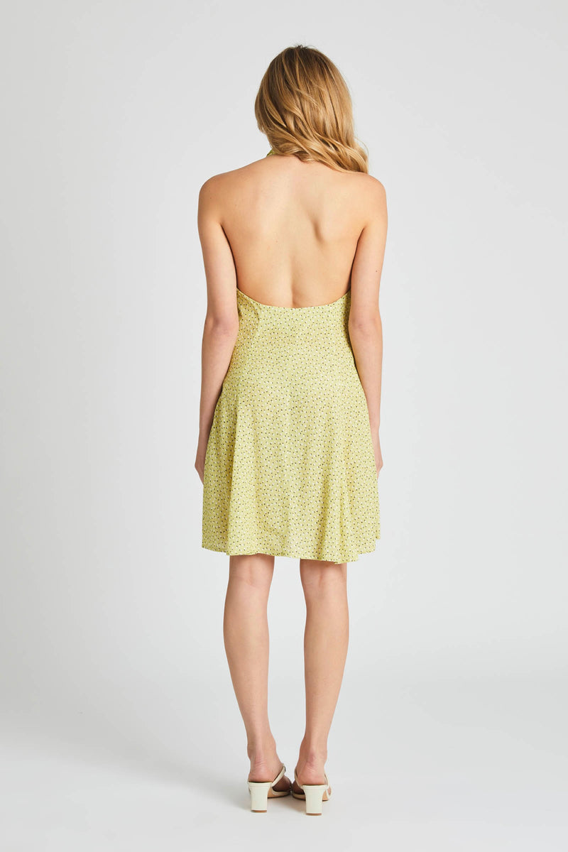 Citron Mini Tulips Halter Dress