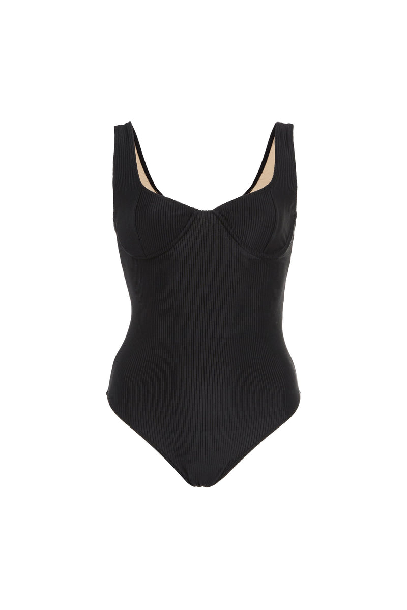 Black Ribbed Mona One Piece