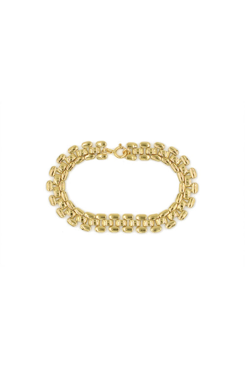 Gold Brick Chain Bracelet