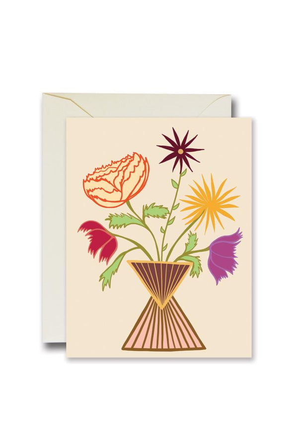 White Friendly Flowers Card