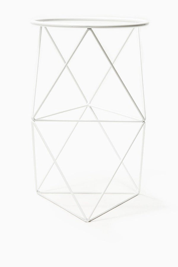 White Double Octahedron Ring Plant Stand