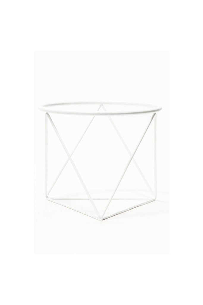 White Octahedron Ring Plant Stand