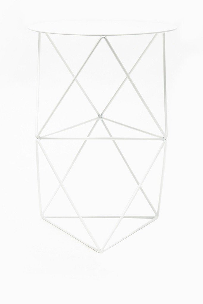 White Double Octahedron Pedestal Plant Stand