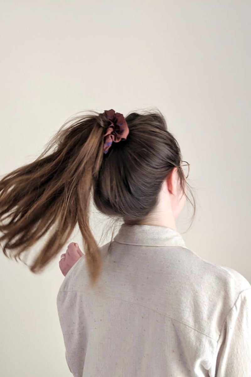 Brown Petal Sateen Scrunchie