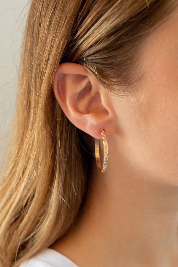 Gold Large Wavy Hoops