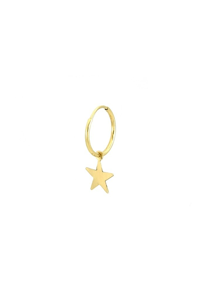 Gold 14k Star Single Hoop