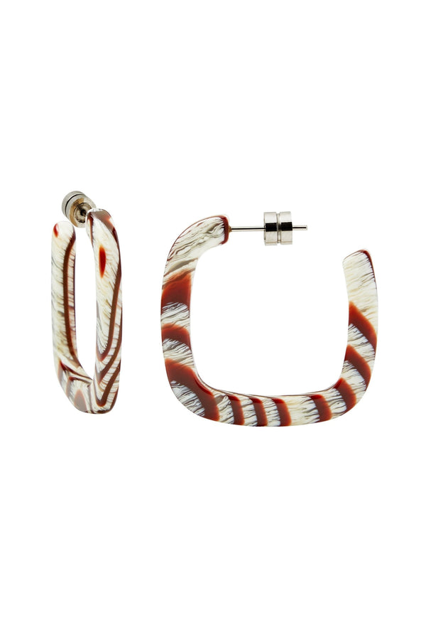 Canyon Brown Midi Square Hoops