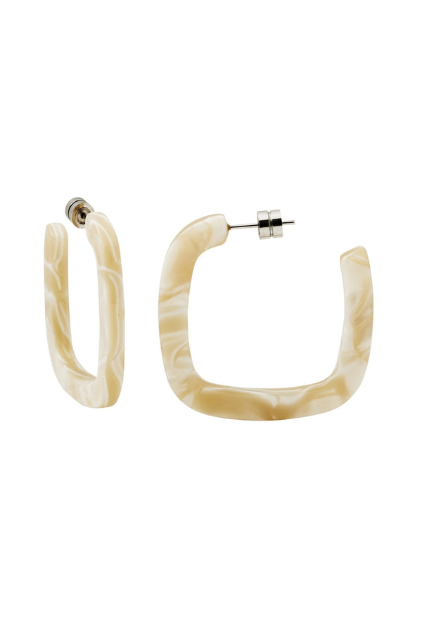 Ivory Midi Square Hoops
