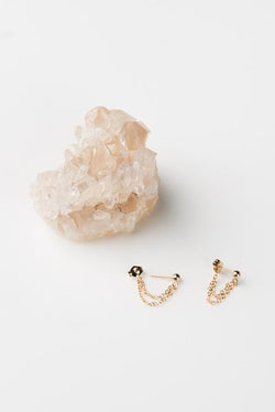 14k Gold Double Chain Studs