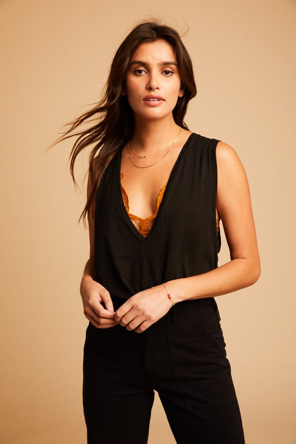 Black U Neck Crop Tank