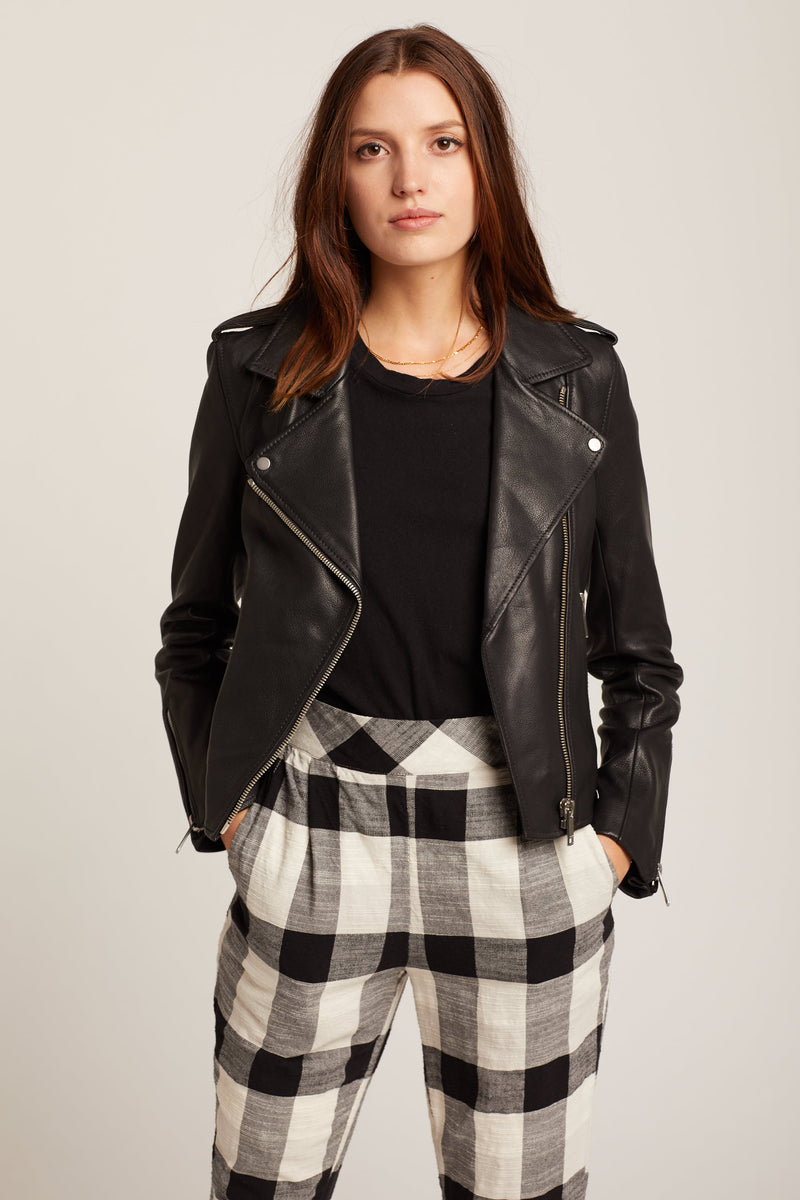 Black Kas Leather Biker Jacket