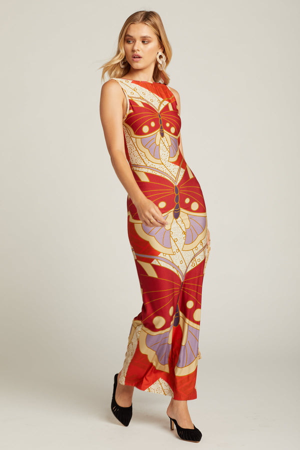 Red Butterfly Diana Dress