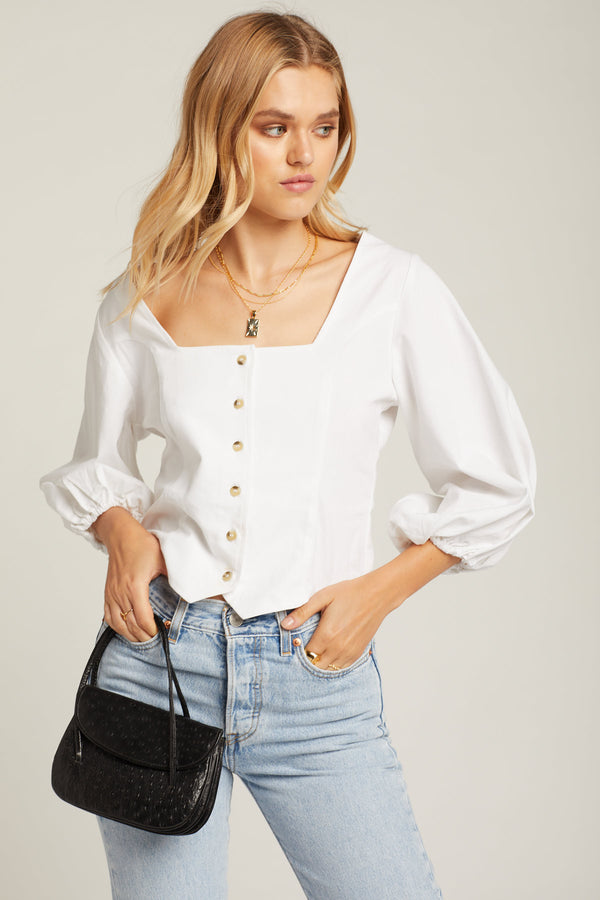 White Roxanne Top