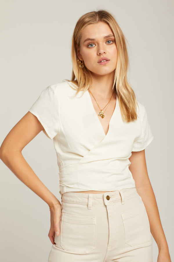Cream Delilah Linen Blouse