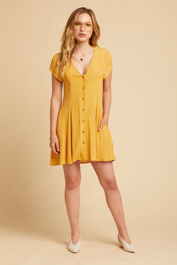 Gold Mini Spot Milla Dress