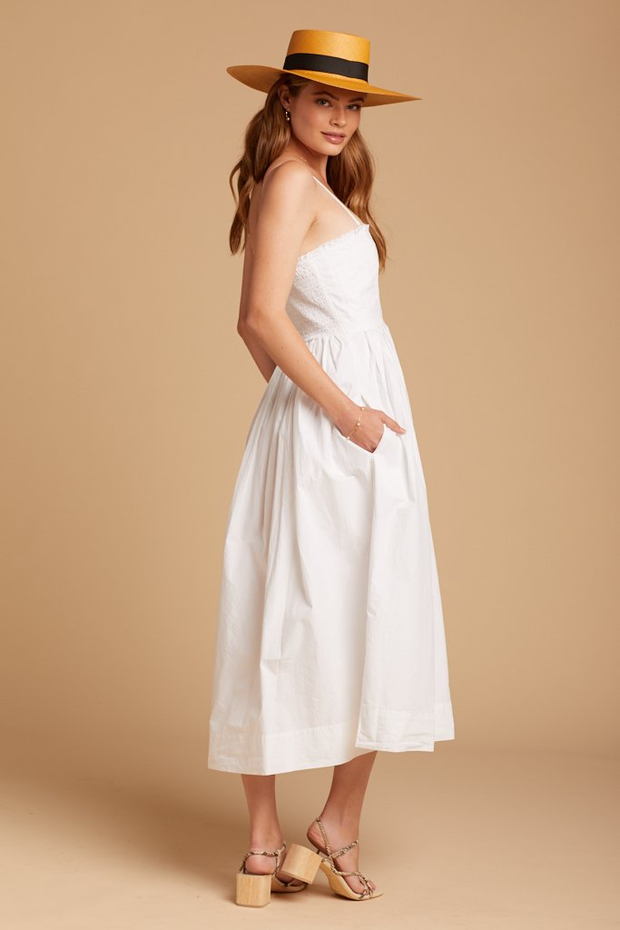 White Lilah Pleated Tube Dress