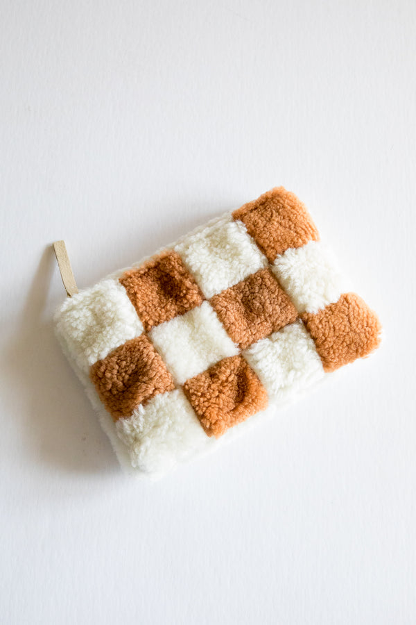 X Prism Cognac + White Checkered Patchwork Pouch