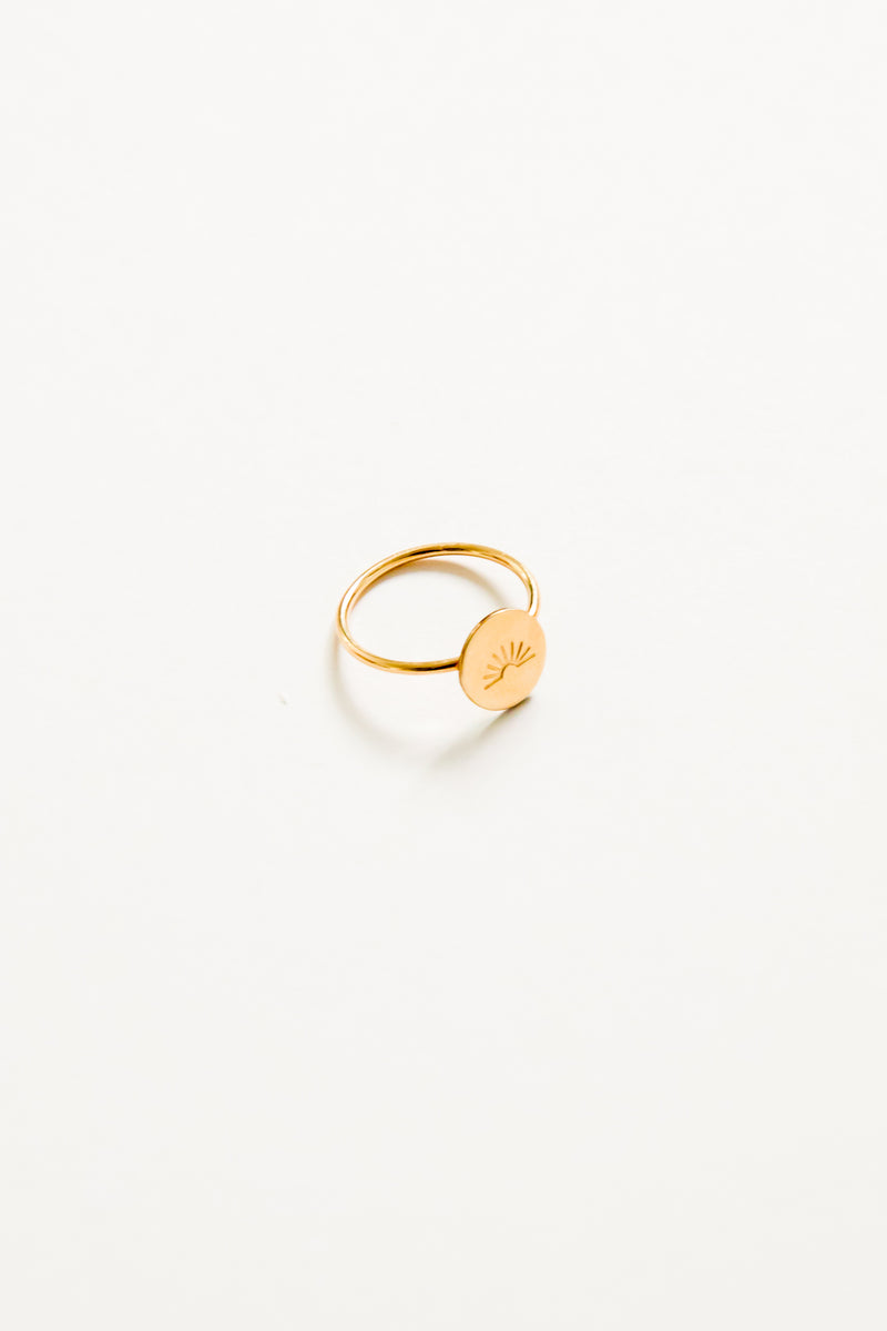 Gold Sun Coin Ring