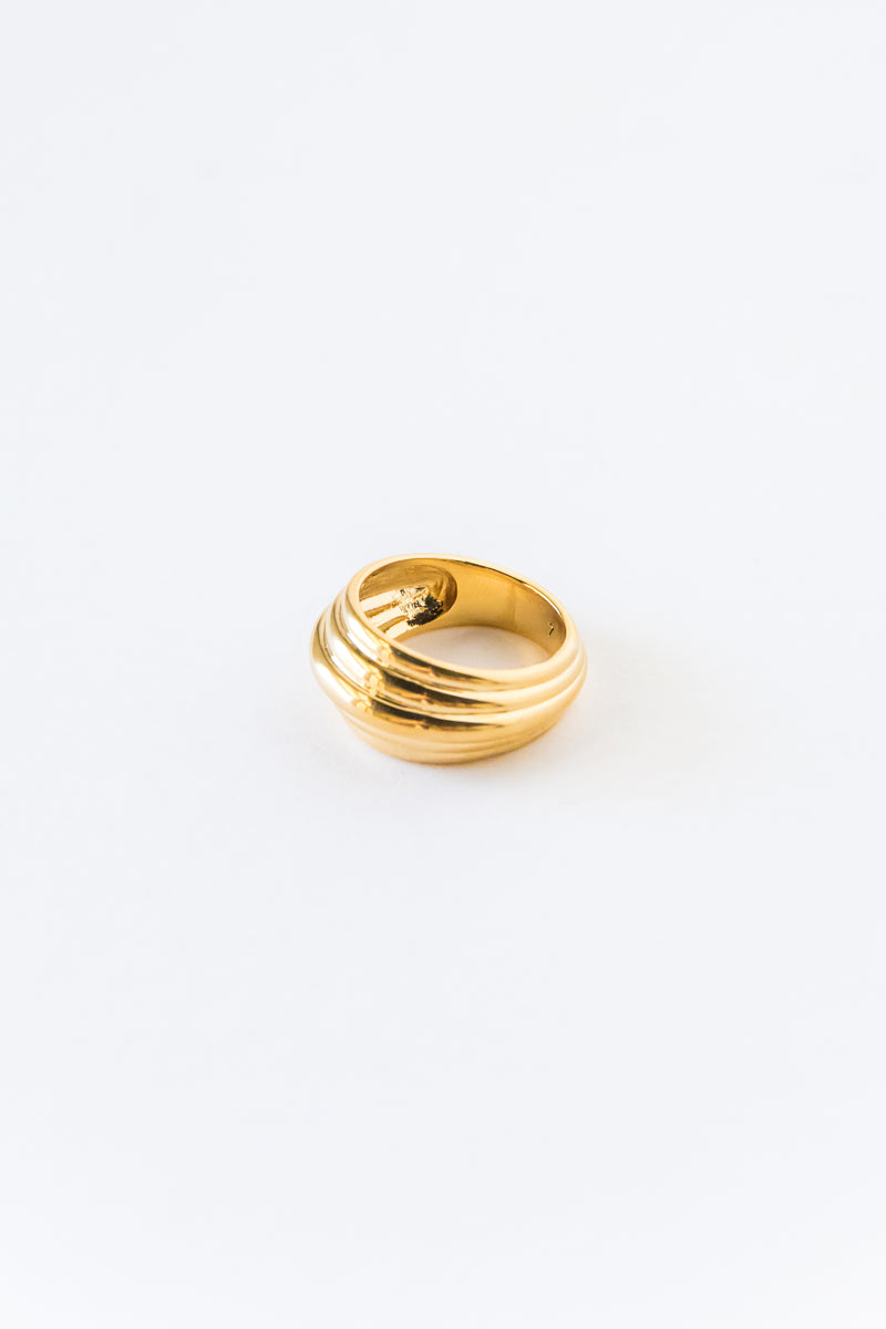 Gold Alin Striped Ring