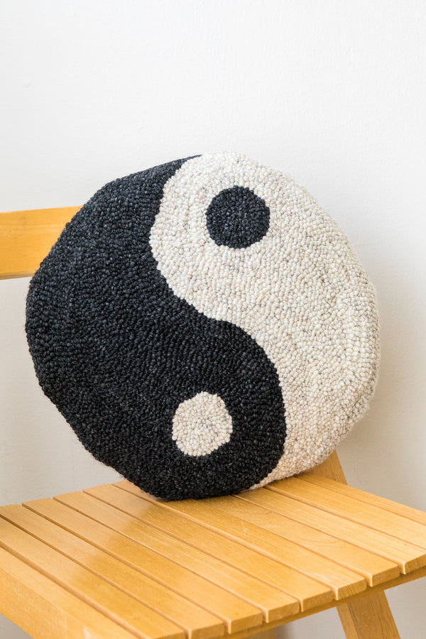 X PRISM Charcoal Speckled Yin Yang Pillow