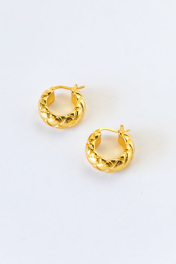 Gold Zigzag Mini Adler Hoops